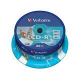 Носители информации CD-R Printable, 52x, Verbatim Azo Wide, Cake/25, 43439